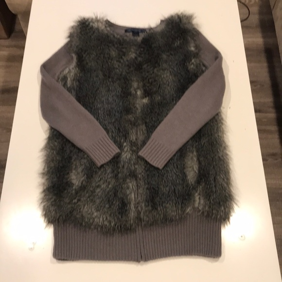 French Connection Jackets & Blazers - French Connection Faux Fur Sweater Coat (Size S)